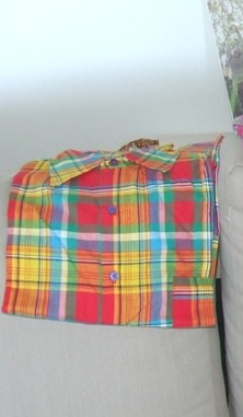 chemise madras rouge orange