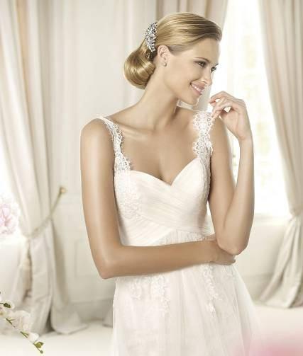 Robe de mariée bustier à bretelles en dentelle 2016
