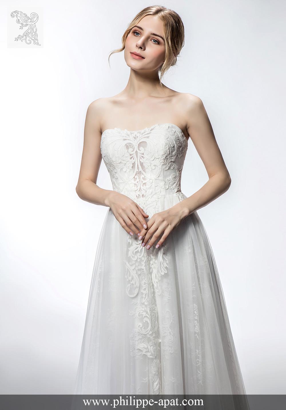 robes de mari e 2018 collection philippe apat mod les mariage soie blanc ivoire 2019. Black Bedroom Furniture Sets. Home Design Ideas