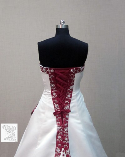Robe Bustier Rouge et Blanche Robe de Mariée Blanche et