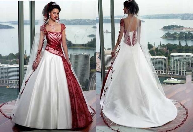 Robe de mariée bustier blanche et rouge, satin, organza et dentelles ...