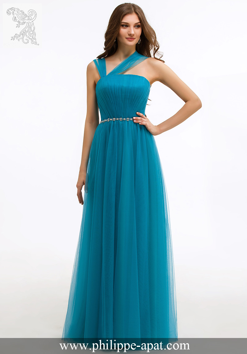 Robe soiree bleu vert
