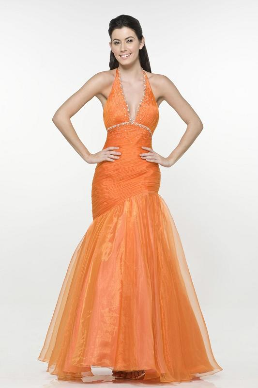 Robe de cocktail longue orange